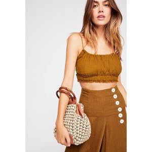 NWT Free People Maggie Knit Clutch Leather Bag